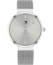 Women's Gray Stainless Steel Mesh Bracelet Watch 35mm, Created for Macy's
