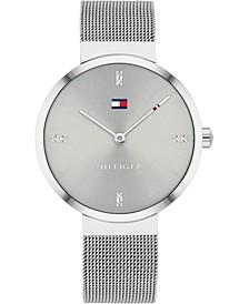 Women's Gray Stainless Steel Mesh Bracelet Watch 35mm