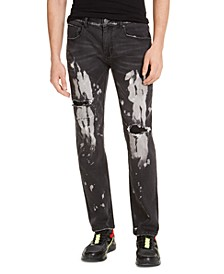 INC Men's Slim-Fit Bleached Black Jeans, Created for Macy's