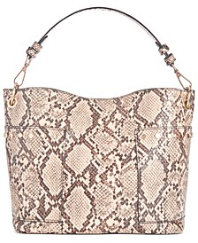 Luxury Snake-Print Bucket Bag