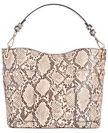 Steve Madden Luxury Snake-Print Bucket Bag