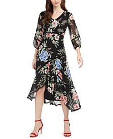 Petite Printed Chiffon Midi Dress