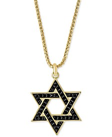 "EFFY® Men's Black Sapphire Star of David 22"" Pendant Necklace in Sterling Silver & 18k Gold-Plated"