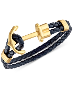Navy Braided Leather Cord Anchor Clasp Bracelet in Yellow Ion-Plated Stainless Steel