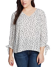 Plus Size Ditsy-Print Tie-Sleeve Top