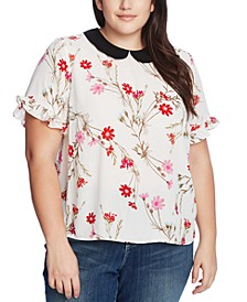 Plus Size Printed Peter-Pan-Collar Top
