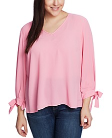 Plus Size Tie-Sleeve Top