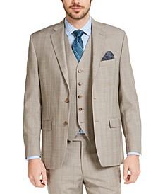 Men's Classic-Fit UltraFlex Stretch Tan Plaid Suit Jacket