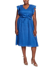 Plus Size V-Neck Flutter-Sleeve Dress