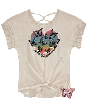 Belle Du Jour Big Girls 2-Pc. Butterfly Top & Flip Sequin Keychain Set