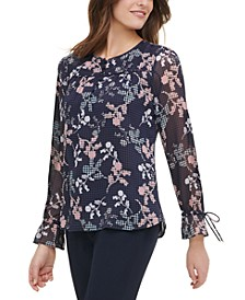 Button-Up Tie-Cuff Floral Print Blouse