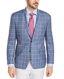 Men's Classic-Fit UltraFlex Stretch Blue Windowpane Sport Coat