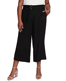 Plus Size Belted Cropped Pants