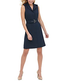 Belted Scuba Crepe Sheath Dress