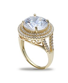 Cubic Zirconia Double Pave Halo Ring (7-1/2 ct. t.w.) in 18K Gold Plated Sterling Silver