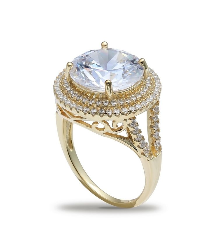 Macy's - Cubic Zirconia (7-1/2 ct. t.w.) Double Pave Halo Ring in 18K Gold Plated Sterling Silver