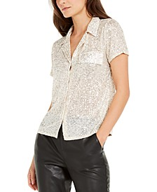 INC Petite Sequined Utility Shirt, Created for Macy's
