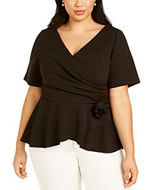 Plus Size Rosette Top