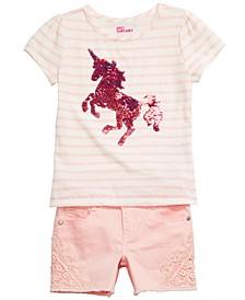 Little Girls Unicorn T-Shirt & Denim Shorts, Created for Macy's
