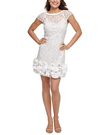 Floral-Lace Ruffled-Hem Sheath