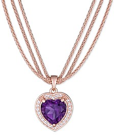 "Amethyst (2-1/3 ct. t.w.) & White Topaz (1/3 ct. t.w.) Heart Triple Strand 17"" Pendant Necklace in 14k Rose Vermeil"