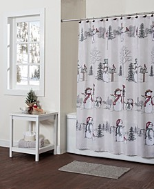 Snowman Land Shower Curtain with Hook Set