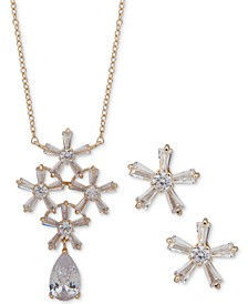Gold-Tone Crystal Flower Pendant Necklace & Stud Earrings Set