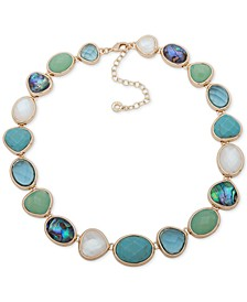 "Gold-Tone Multi-Stone Collar Necklace, 16"" + 3"" extender"