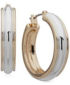 """Two-Tone Medium Hoop Earrings, 1.2"""""""