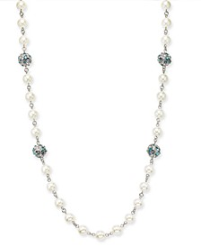 "Silver-Tone Pavé & Stone Fireball Imitation Pearl Beaded Strand Necklace, 42"" + 2"" extender, Created for Macy's"