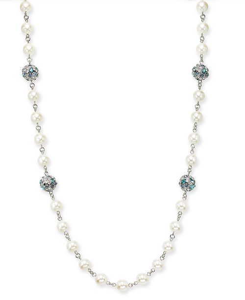"""Charter Club Silver-Tone Pavé & Stone Fireball Imitation Pearl Beaded Strand Necklace, 42"""" + 2"""" extender, Created for Macy's"""