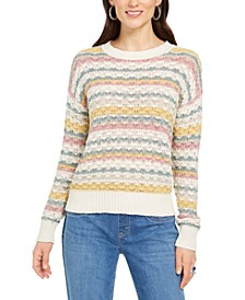 Petite Striped Bubble-Stitch Sweater, Created for Macy's