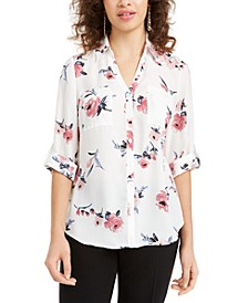 Juniors' Cuffed Floral-Print Top