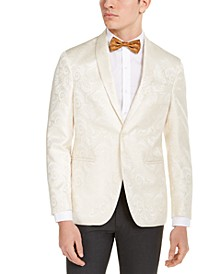 Men's Slim-Fit Ivory Tonal Paisley Evening Jacket, Created for Macy's