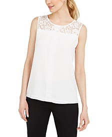 Paris Sleeveless Lace-Trimmed Blouse
