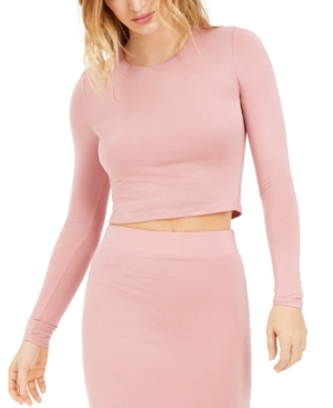 Bar Iii Bodycon Long-Sleeve Cropped Top, Created for Macy's