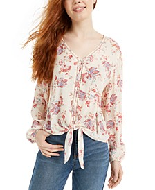Juniors' Floral-Print Tie-Front Top