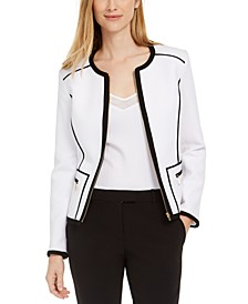 Petite Pique Piped Zip-Front Jacket