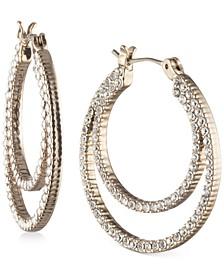 """Small Pavé Double-Row Hoop Earrings, 1"""""""