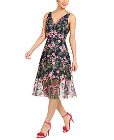 Vince Camuto Floral Embroidered Midi Dress