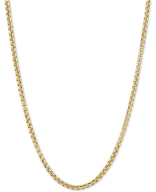 "Macy's Rounded Box Link 20"" Chain Necklace in 18k Gold-Plated Sterling Silver"