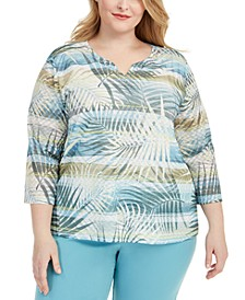 Plus Size Chesapeake Bay Printed Embellished Top