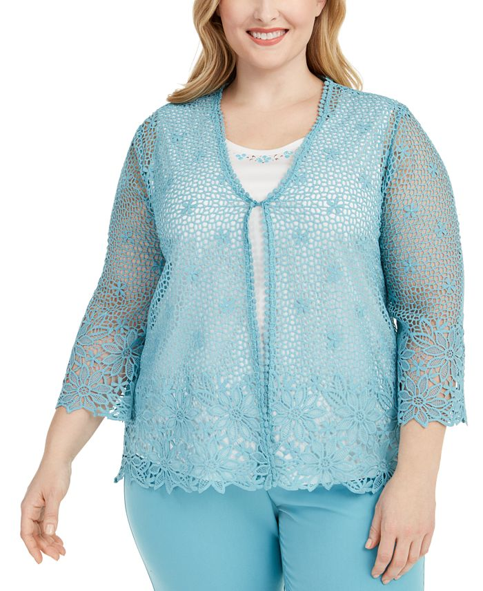 Alfred Dunner - Plus Size Chesapeake Bay Crochet Layered-Look Sweater