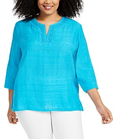 Plus Size Easy Street Split Neckline Top