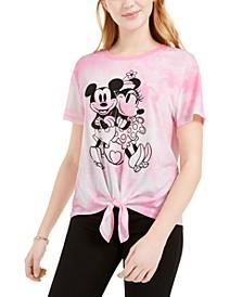 Juniors' Mickey & Minnie Tie-Front T-Shirt