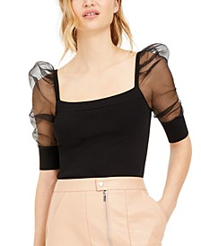 Puffed-Sleeve Illusion Top, Created For Macy's