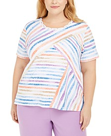 Plus Size Rhinestone-Embellished Striped Top