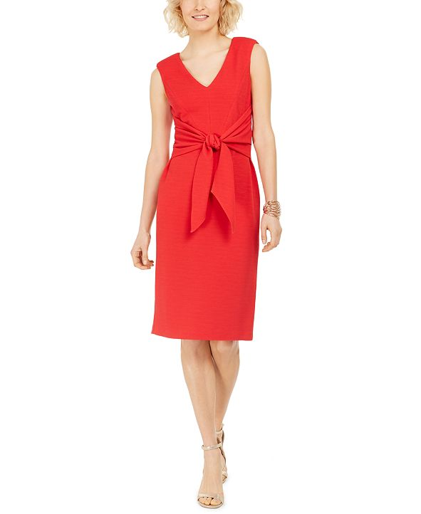 Adrianna Papell Knot-Front Sheath Dress
