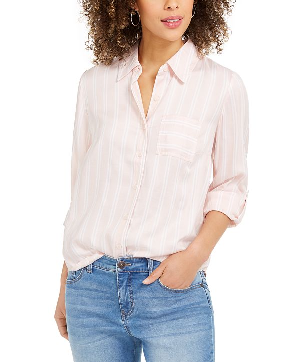 Style & Co One-Pocket Striped Shirt, Created for Macy's