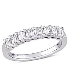 Emerald-Cut Certified Diamond (1 ct. t.w.) Semi-Eternity Anniversary Band in 14k White Gold